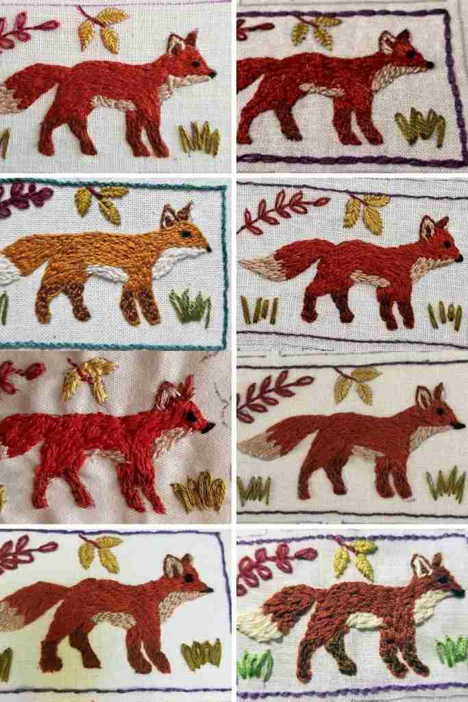 pictures of embroidered foxes