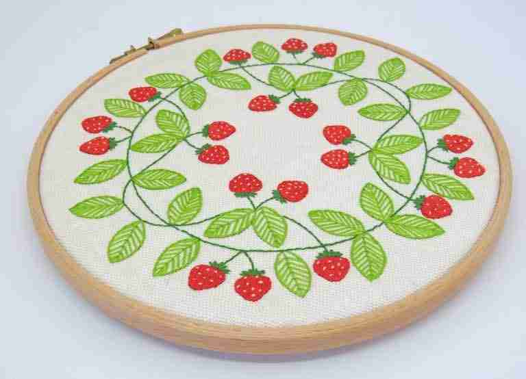 embroidered strawberries