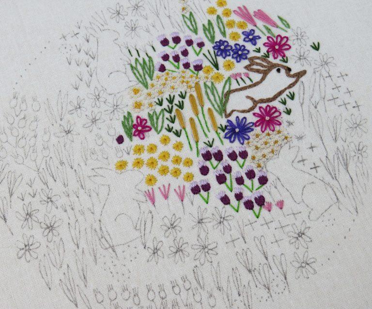 rabbit wildflower embroidery pattern