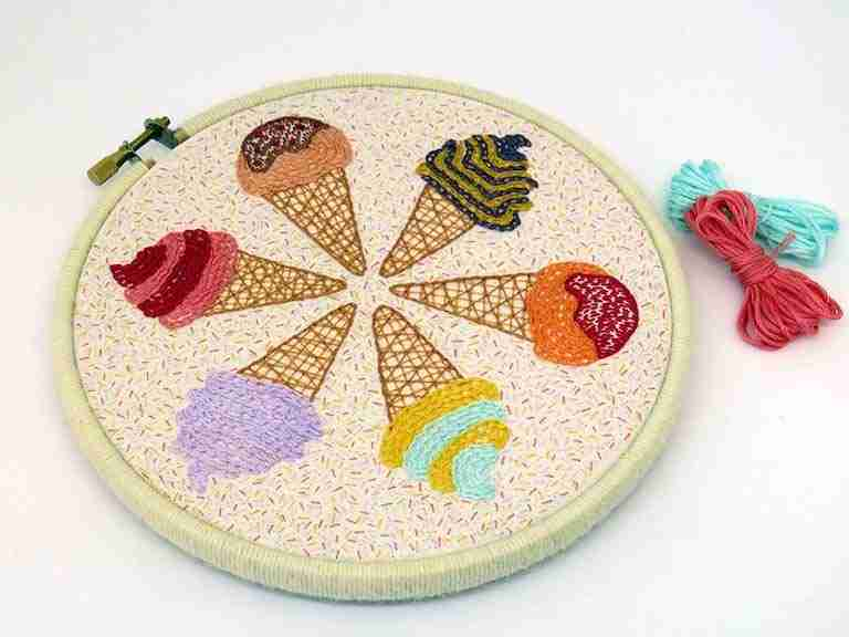 ice cream embroidery pattern