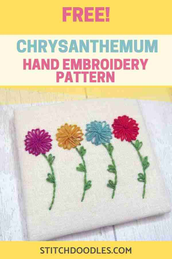 chrysanthemum free hand embroidery pattern