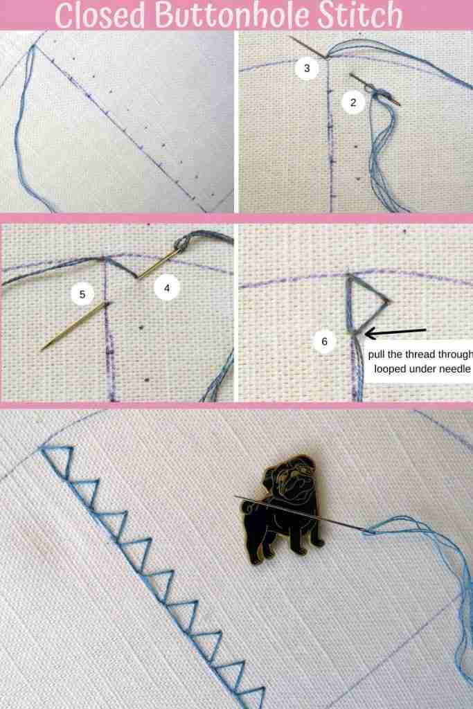 closed buttonhole stitch tutorial