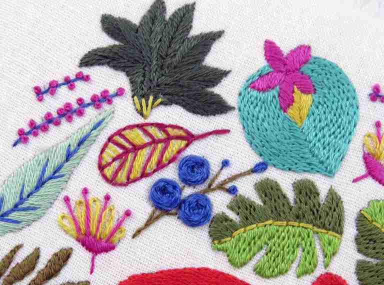 hand embroidery stitches in leaves