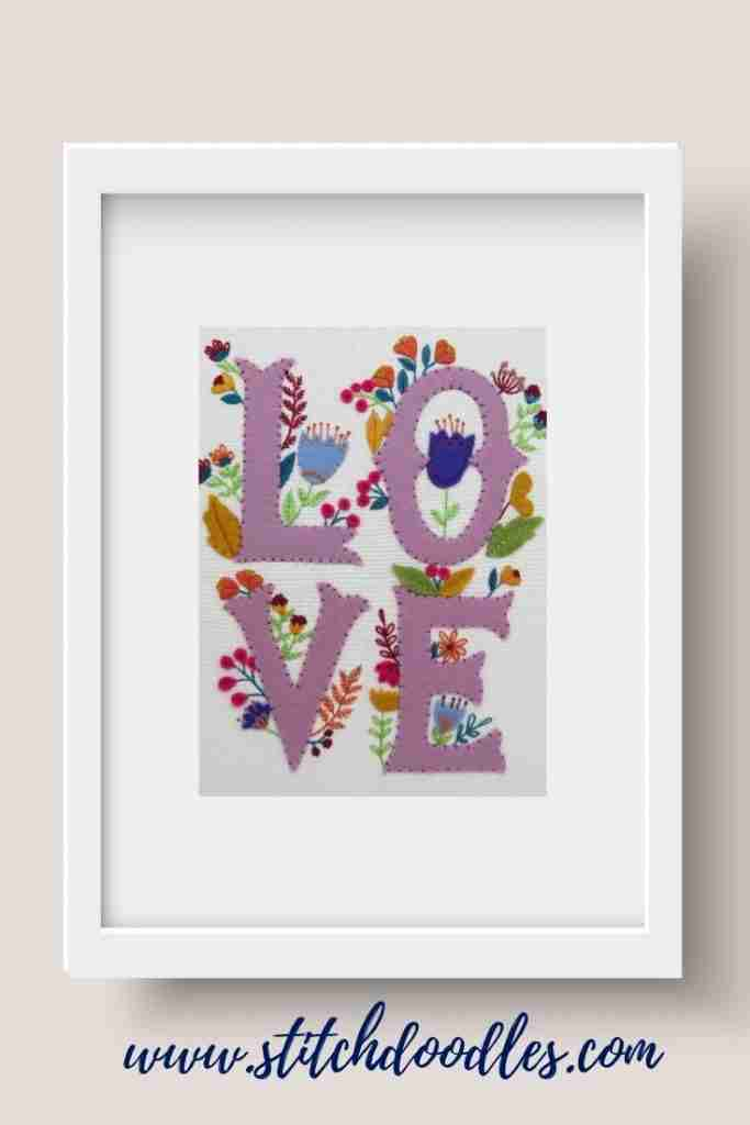 Love hand embroidery pattern PDF
