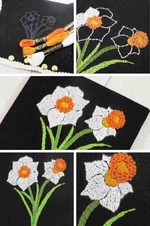 hand embroidery pattern for narcissus flowers
