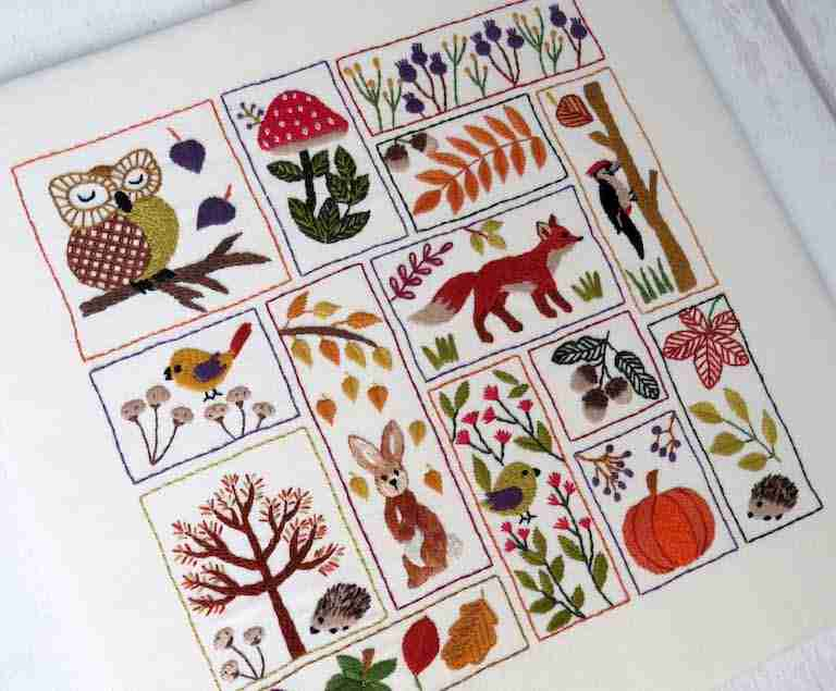 autumn hand embroidery pattern