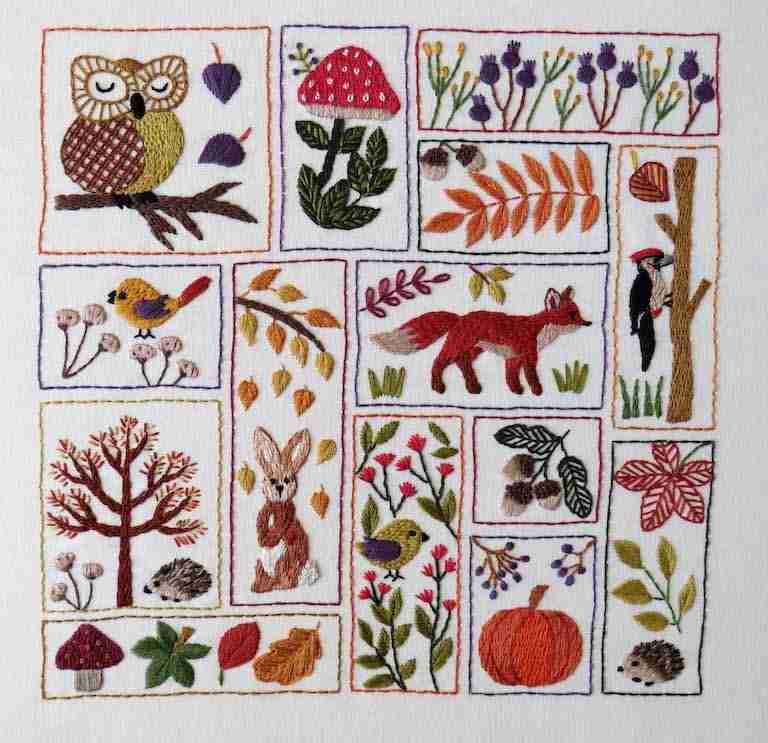 autumn embroidery pattern