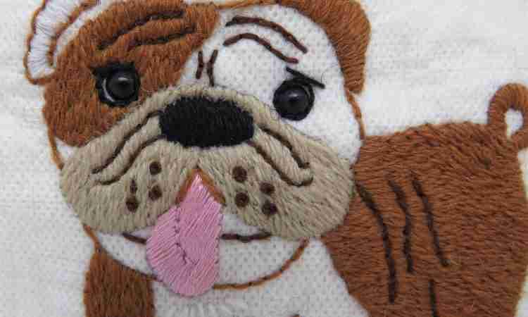 embroidered bulldog