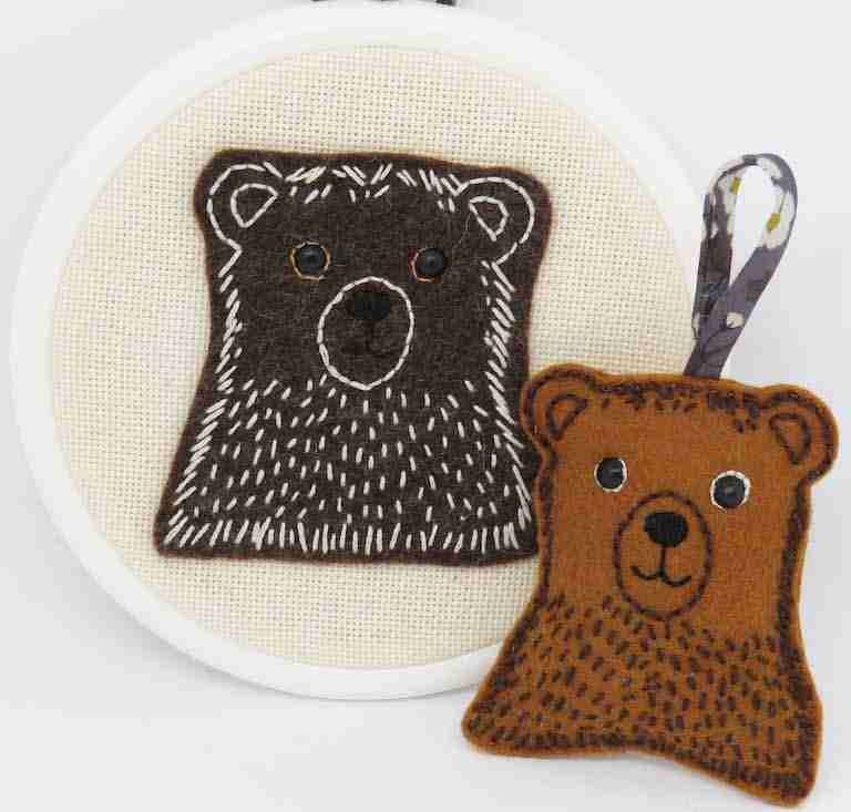 bear hand embroidery pattern