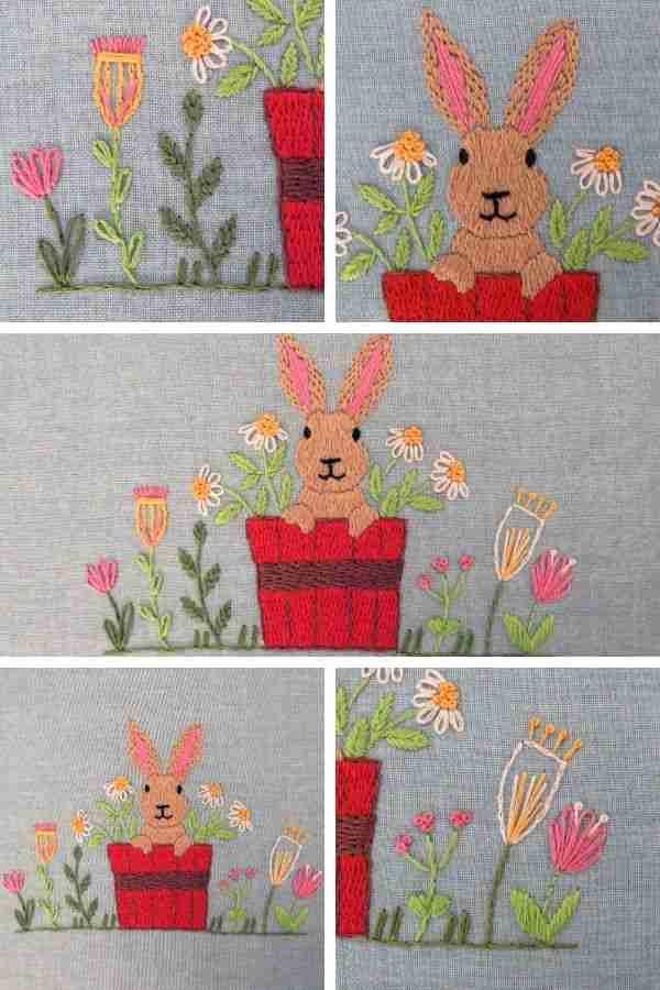 Free rabbit hand embroidery pattern
