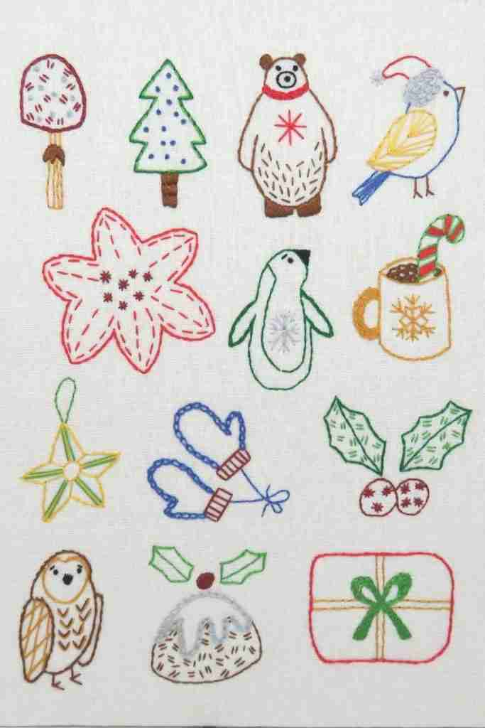 Christmas decorations hand embroidery pattern