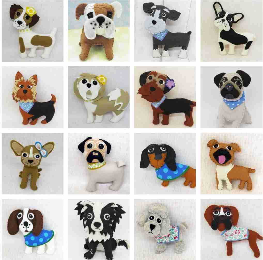 dog plushies in different breeds