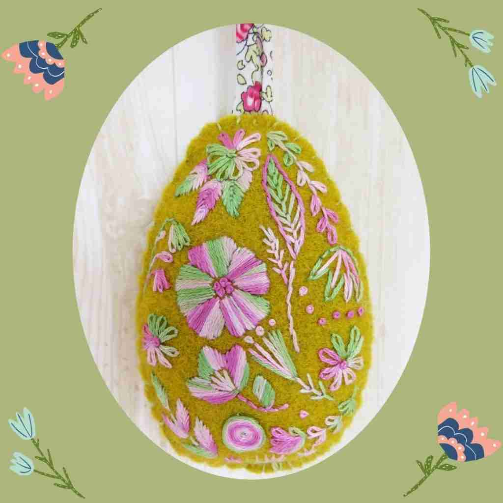 hand embroidered easter egg
