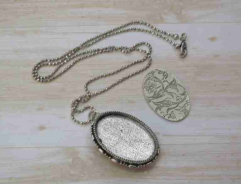 embroidery brooch pendant antique silver