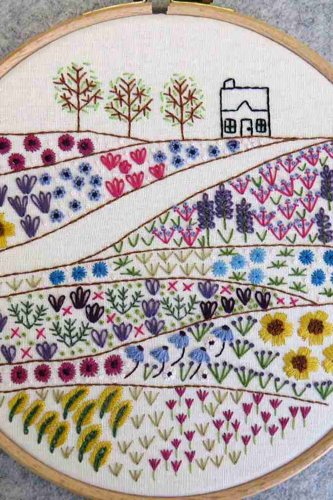 Flower Cottage hand embroidery pattern
