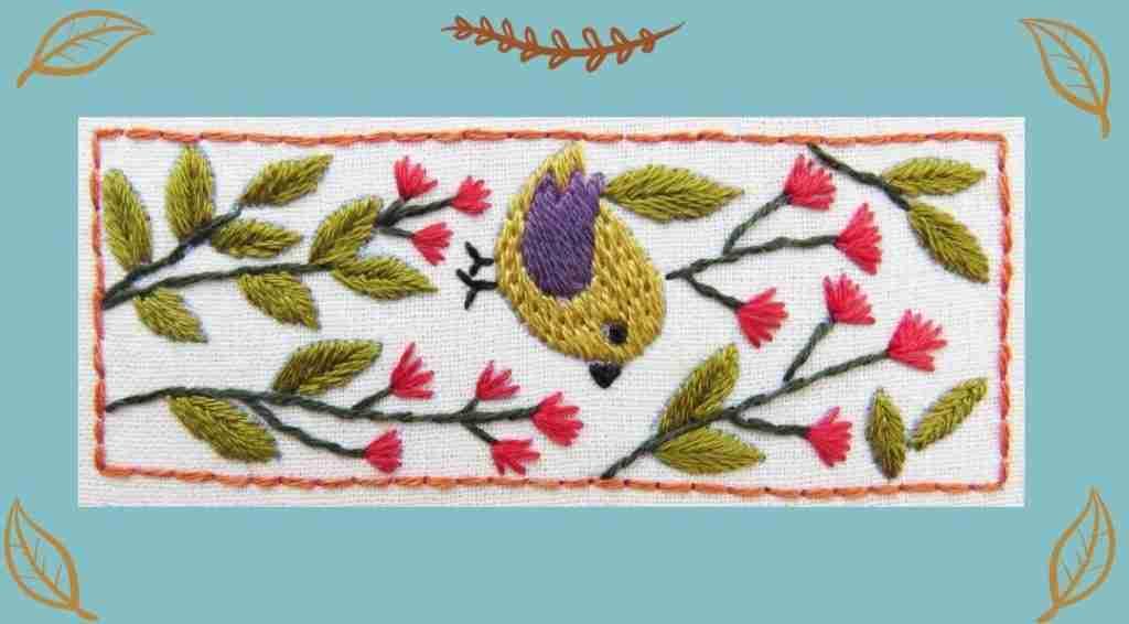 flower folk bird hand embroidery