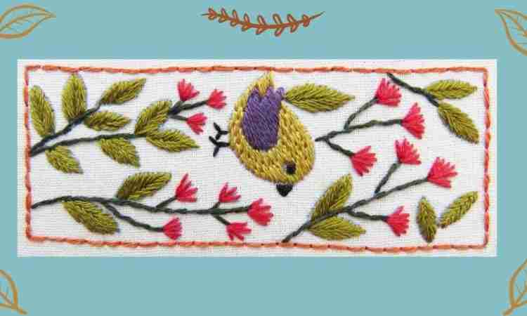 flower folk bird hand embroidery