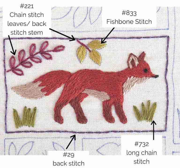 fox hand embroidery design