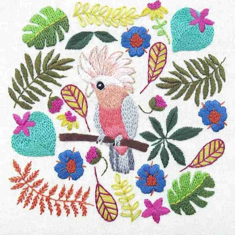 Galah Cockatoo Hand embroidery pattern