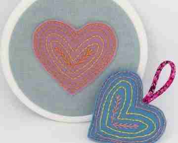 felt heart embroidery