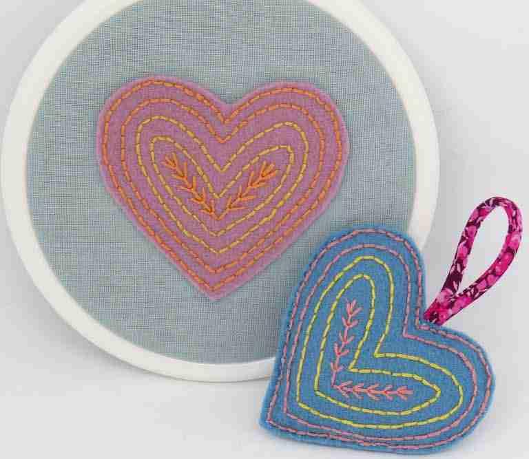 felt heart embroidery