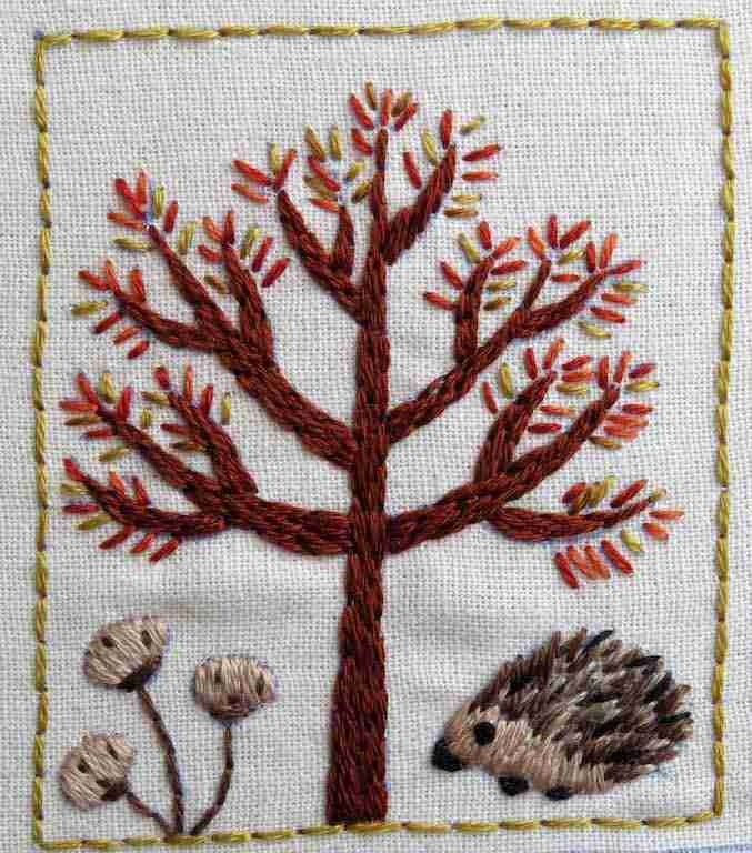 hand embroidered tree with hedgehog