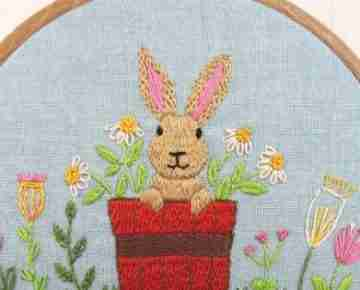 rabbit hand embroidery design
