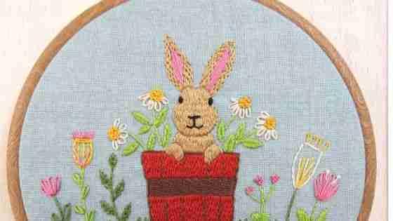 rabbit hand embroidery design