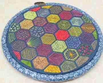 hexagon embroidery sampler