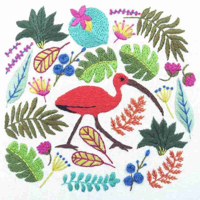 Ibis tropical bird hand embroidery pattern