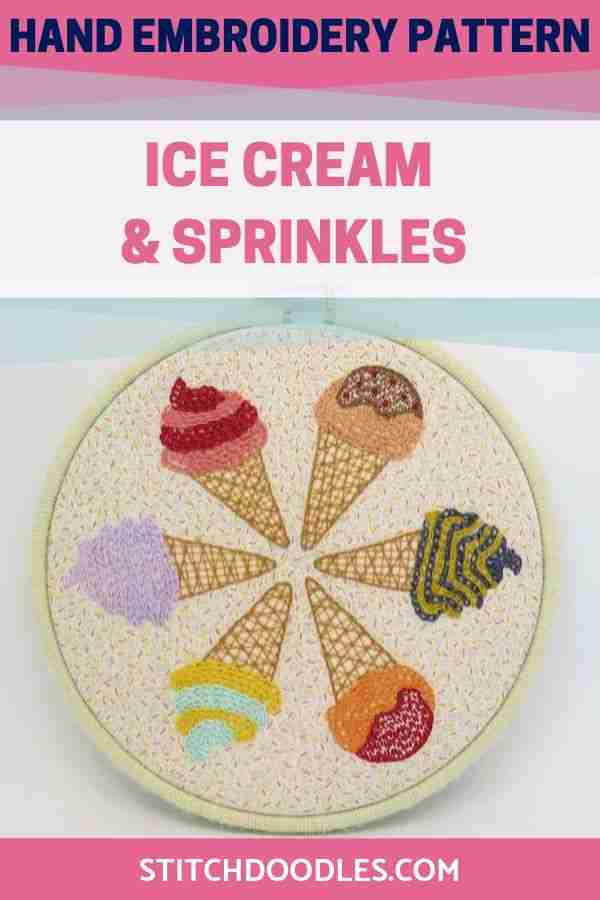 Hand embroidery pattern for Ice Cream