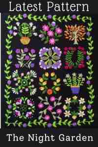 night garden hand embroidery