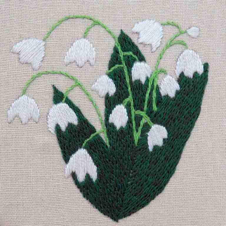 lily of the valley embroidered flowers pattern