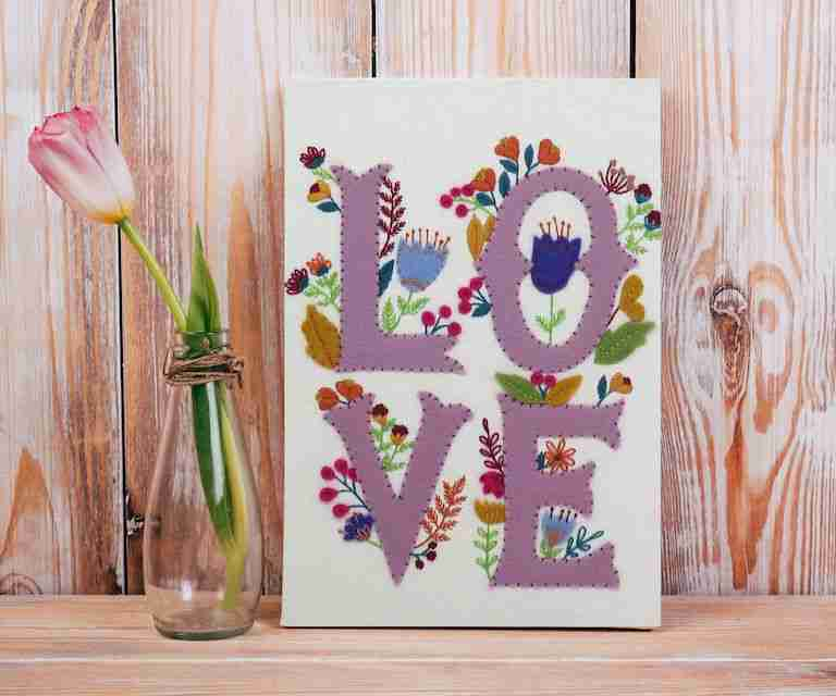 hand embroidery pattern design called LOVE