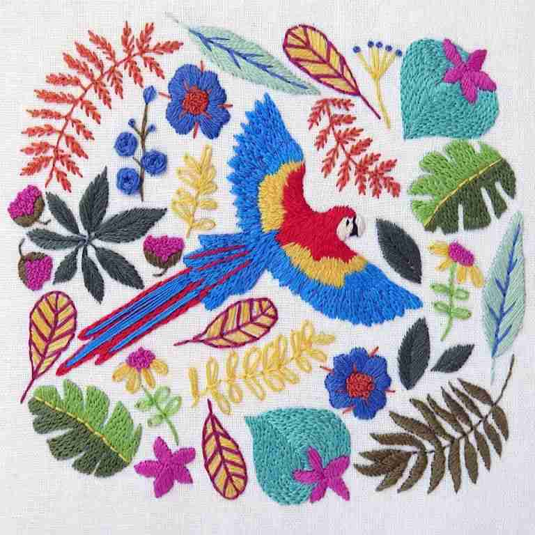 macaw hand embroidery pattern