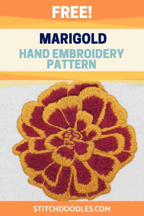 marigold hand embroidery pattern