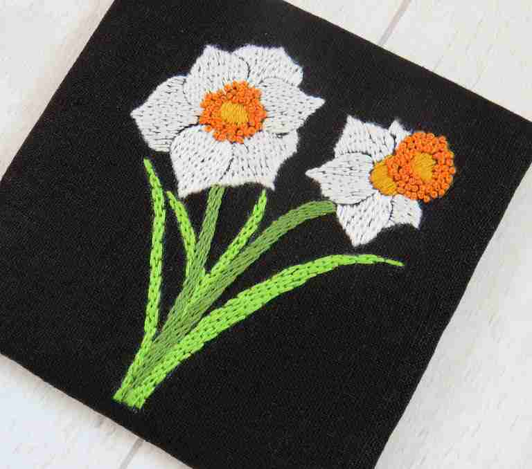 narcissus flower embroidery pattern