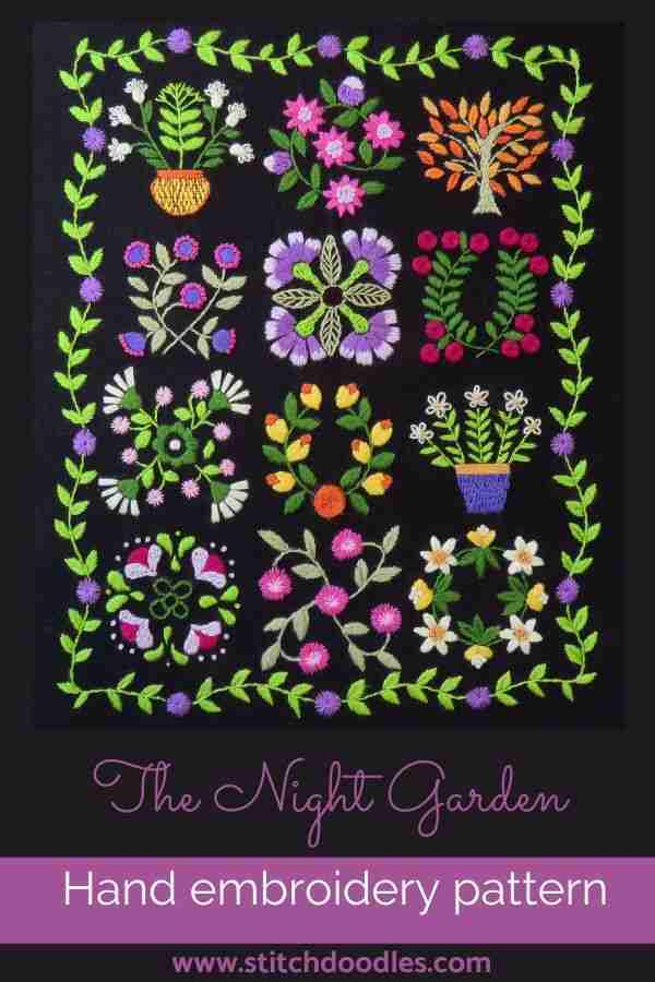 The Night Garden hand embroidery pattern
