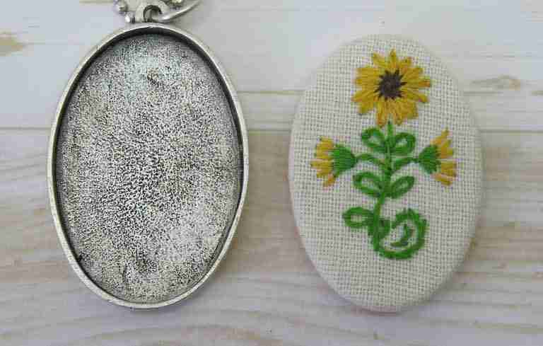 embroidered necklace pendant