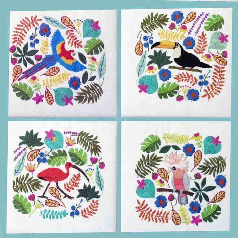 Tropical Birds Hand Embroidery Pattern