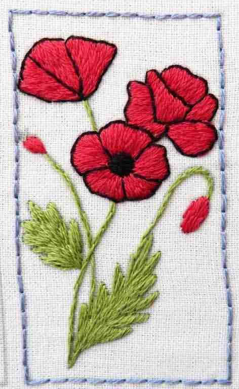hand embroidered poppies