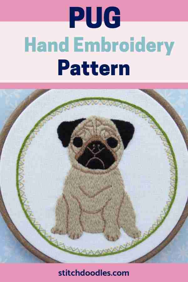 pug embroidery pattern