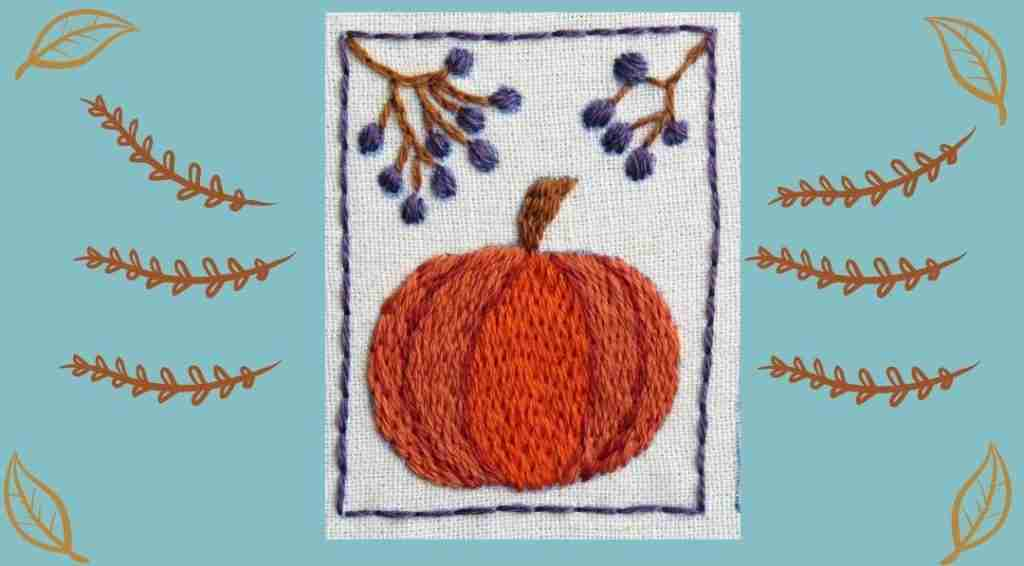 hand embroidered pumpkin