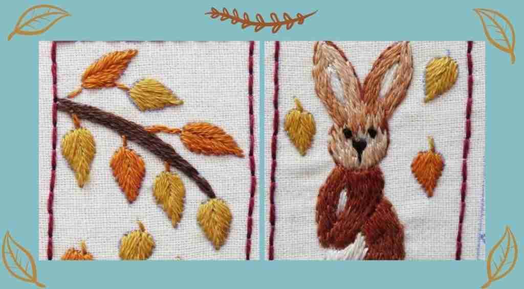 Autumn splendour rabbit hand embroidery