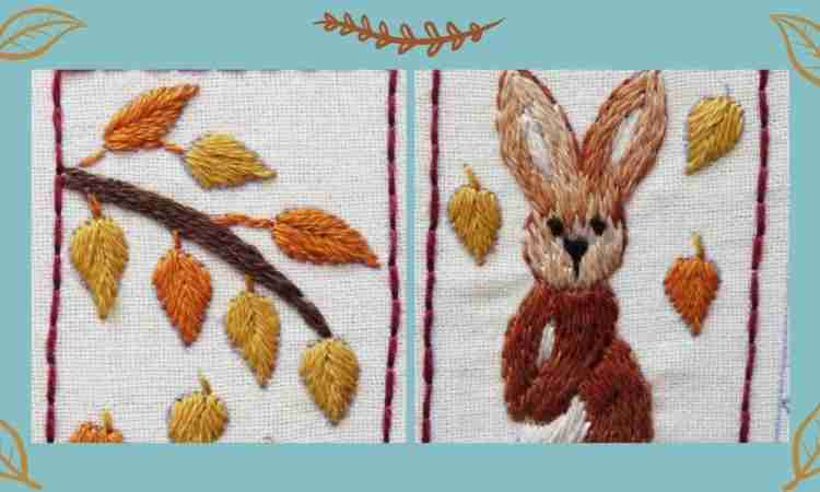 Autumn splendour rabbit hand embroidery