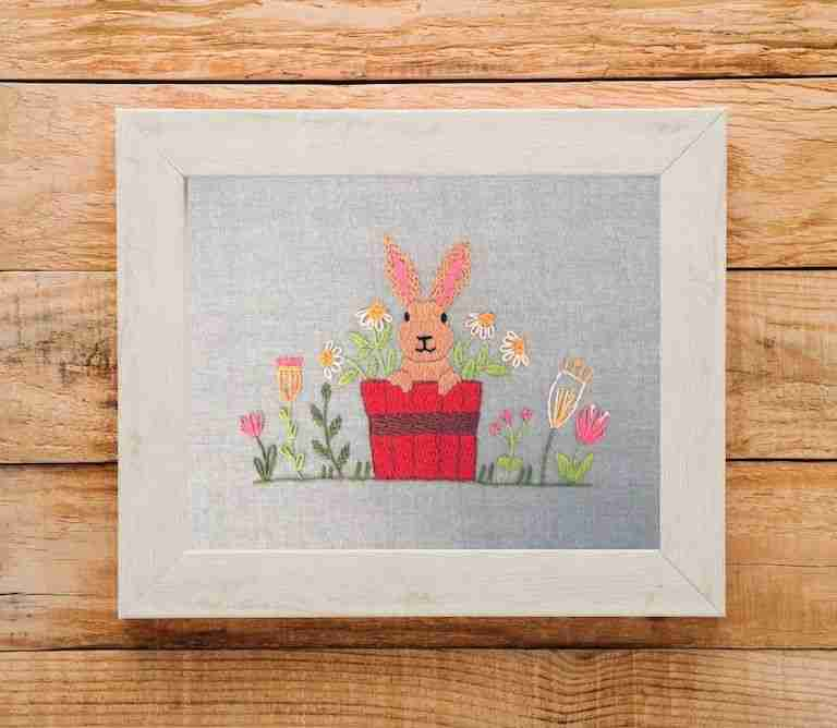 hand embroidered rabbit in flower pot