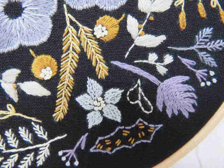 winter flowers hand embroidery pattern