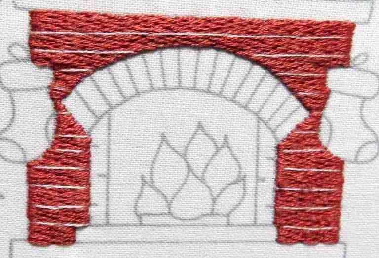 hand embroidered bricks