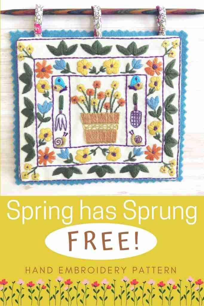 spring has sprung hand embroidery pattern
