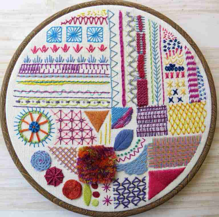 stitch sampler for hand embroidery